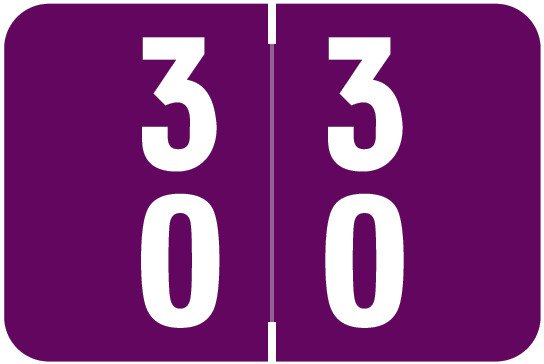 Smead DDS Match SMDM Series Numeric Roll Labels - Number 30 To 39 - Purple