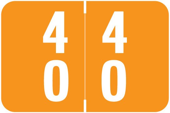 Smead DDS Match SMDM Series Numeric Roll Labels - Number 40 To 49 - Orange