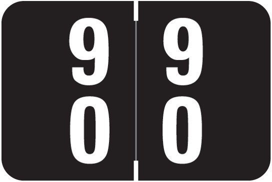 Smead DDS Match SMDM Series Numeric Roll Labels - Number 90 To 99 - Black