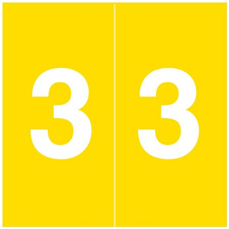 S & W KKL Match SWNM Series Numeric Roll Labels - Number 3 - Yellow
