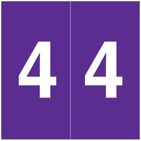 S & W KKL Match SWNM Series Numeric Roll Labels - Number 4 - Purple