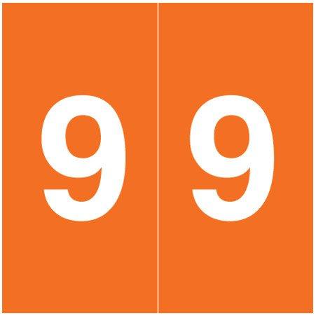 S & W KKL Match SWNM Series Numeric Roll Labels - Number 9 - Orange