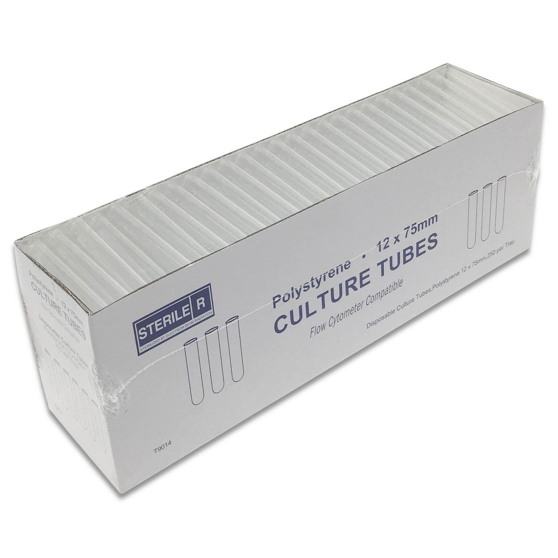 12mm x 75mm FlowTubes without Cap - Sterile - Pack 1000 (4 Tray Boxes of 250/Box)