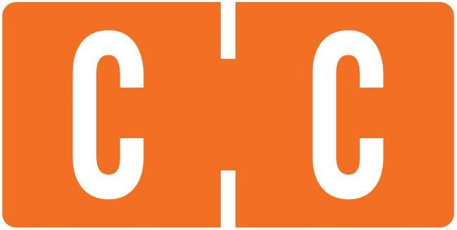 Tab Products Match TBAV Series Alpha Roll Labels - Letter C - Dark Orange