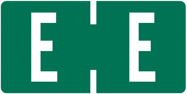 Tab Products Match TBAV Series Alpha Roll Labels - Letter E - Dark Green