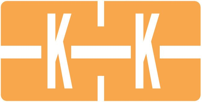 Tab Products Match TBAV Series Alpha Roll Labels - Letter K - Fluorescent Orange