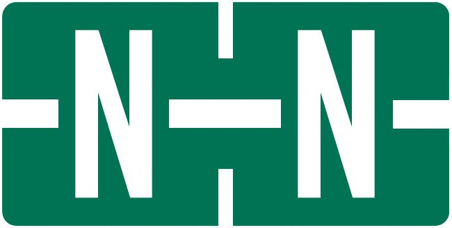 Tab Products Match TBAV Series Alpha Roll Labels - Letter N - Dark Green