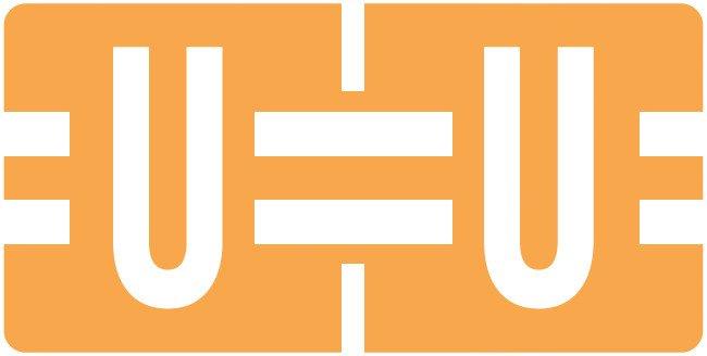 Tab Products Match TBAV Series Alpha Roll Labels - Letter U - Fluorescent Orange