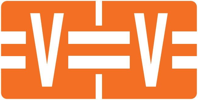 Tab Products Match TBAV Series Alpha Roll Labels - Letter V - Dark Orange