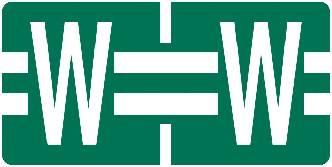 Tab Products Match TBAV Series Alpha Roll Labels - Letter W - Dark Green