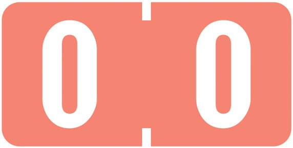 Tab Products Match TBNV Series Numeric Roll Labels - Number 0 - Pink
