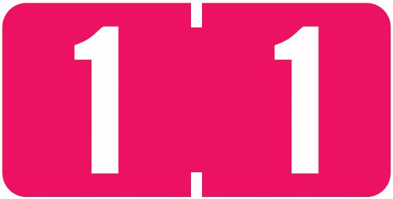 Tab Products Match TBNV Series Numeric Roll Labels - Number 1 - Red