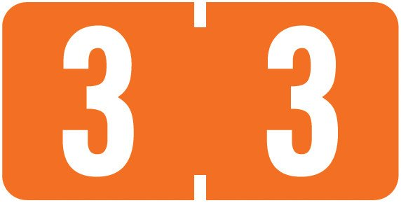 Tab Products Match TBNV Series Numeric Roll Labels - Number 3 - Orange