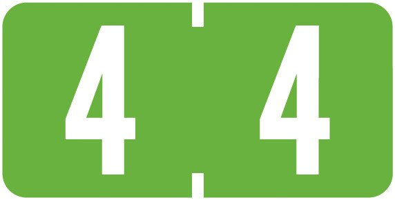 Tab Products Match TBNV Series Numeric Roll Labels - Number 4 - Fluorescent Green