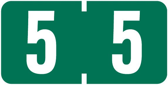 Tab Products Match TBNV Series Numeric Roll Labels - Number 5 - Green