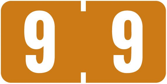 Tab Products Match TBNV Series Numeric Roll Labels - Number 9 - Brown