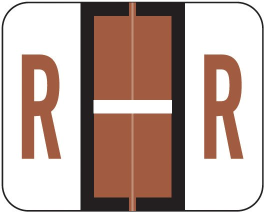 Smead BCCR Match TPAM Series Alpha Roll Labels - Letter R - Brown