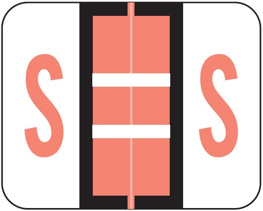 Smead BCCR Match TPAM Series Alpha Roll Labels - Letter S - Pink