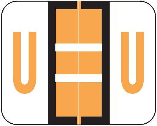 Smead BCCR Match TPAM Series Alpha Roll Labels - Letter U - Fluorescent Orange