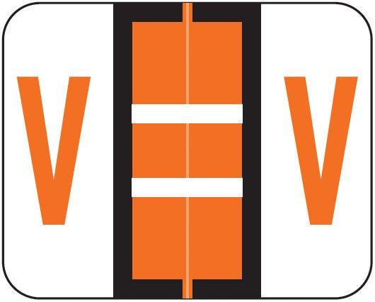 Smead BCCR Match TPAM Series Alpha Roll Labels - Letter V - Orange
