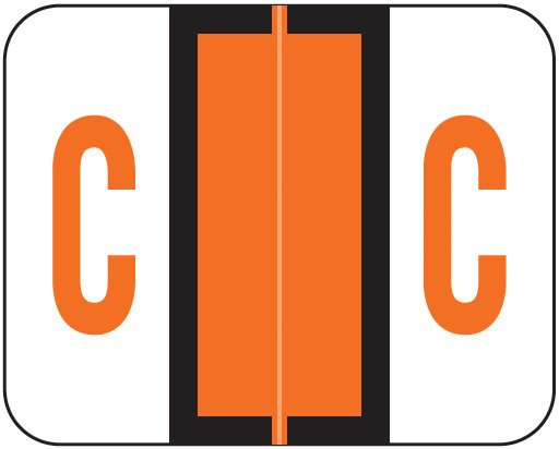Tab Products Match TPAV Series Alpha Roll Labels - Letter C - Dark Orange