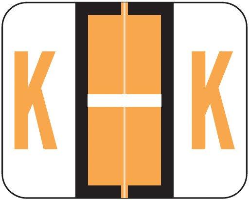 Tab Products Match TPAV Series Alpha Roll Labels - Letter K - Fluorescent Orange