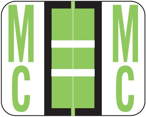 Tab Products Match TPAV Series Alpha Roll Labels - Letter Mc - Fluorescent Green