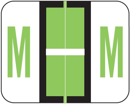 Tab Products Match TPAV Series Alpha Roll Labels - Letter M - Fluorescent Green