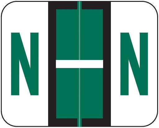 Tab Products Match TPAV Series Alpha Roll Labels - Letter N - Dark Green