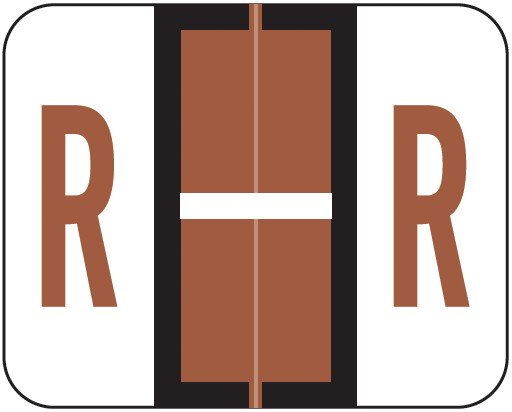 Tab Products Match TPAV Series Alpha Roll Labels - Letter R - Brown