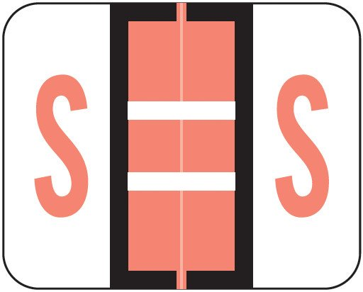 Tab Products Match TPAV Series Alpha Roll Labels - Letter S - Pink