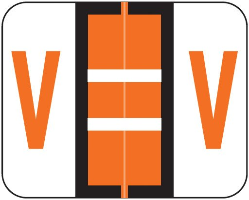 Tab Products Match TPAV Series Alpha Roll Labels - Letter V - Dark Orange