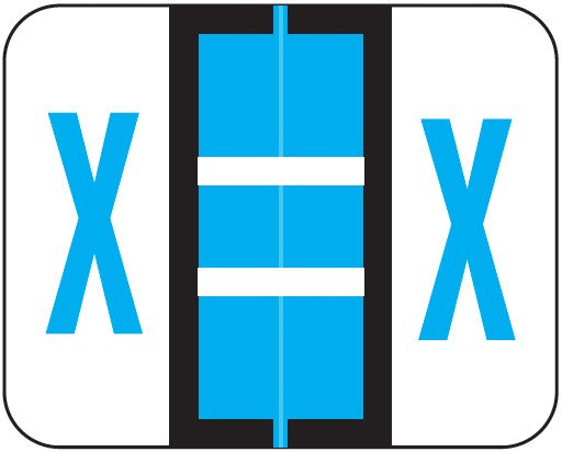 Tab Products Match TPAV Series Alpha Roll Labels - Letter X - Blue