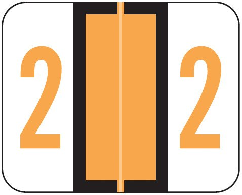 Tab Products Match TPNV Series Numeric Roll Labels - Number 2 - Fluorescent Orange