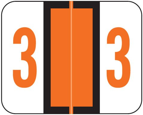 Tab Products Match TPNV Series Numeric Roll Labels - Number 3 - Orange