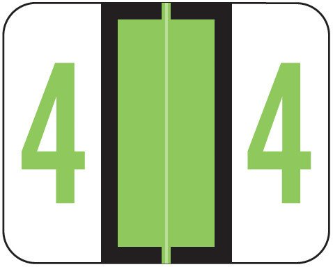 Tab Products Match TPNV Series Numeric Roll Labels - Number 4 - Fluorescent Green