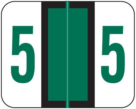 Tab Products Match TPNV Series Numeric Roll Labels - Number 5 - Green