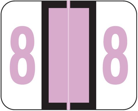 Tab Products Match TPNV Series Numeric Roll Labels - Number 8 - Lilac