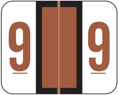 Tab Products Match TPNV Series Numeric Roll Labels - Number 9 - Brown