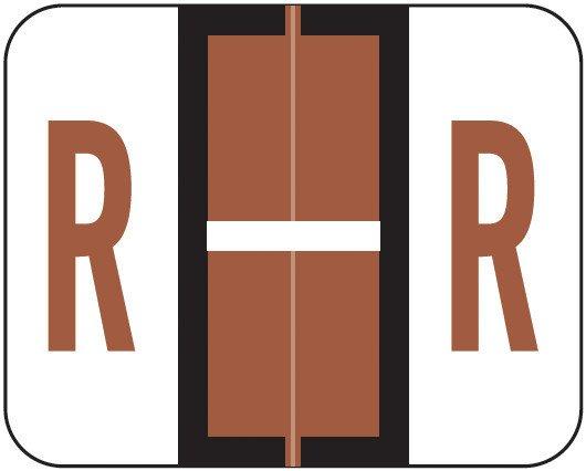 Smead BCCS Match TPPK Series Alpha Sheet Labels - Letter R - Brown