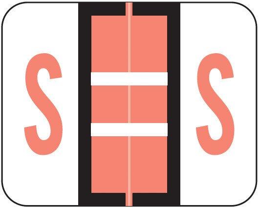 Smead BCCS Match TPPK Series Alpha Sheet Labels - Letter S - Pink
