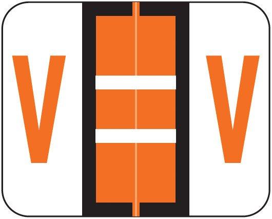 Smead BCCS Match TPPK Series Alpha Sheet Labels - Letter V - Orange