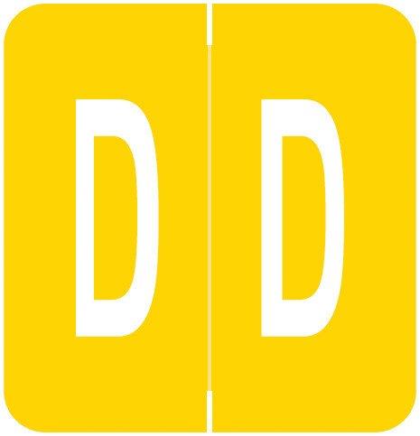GBS 8848 Match VRPK Series Alpha Sheet Labels - Letter D - Yellow