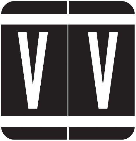 GBS 8848 Match VRPK Series Alpha Sheet Labels - Letter V - Black