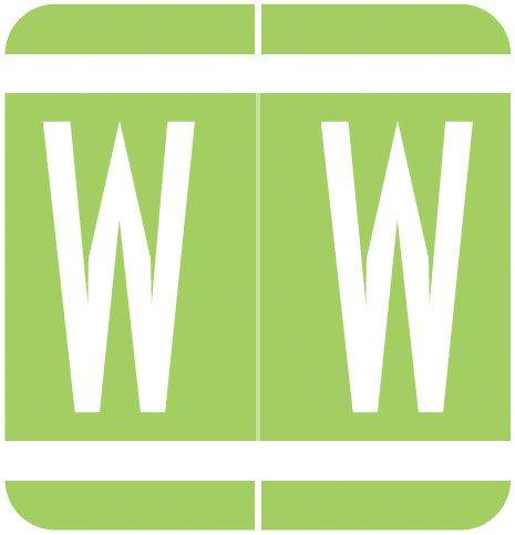 GBS 8848 Match VRPK Series Alpha Sheet Labels - Letter W - Light Green
