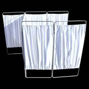 King Economy Privacy Screen with T-Hinge and White Vinyl Panel - 7 Section