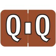 Colwell Jewel Tone Match COAM Series Alpha Roll Labels - Letter Q - Brown Label
