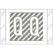 Tabbies 12000 Match CRAM Series Alpha Roll Labels - Letter Q - Gray and White Label