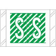 Tabbies 12000 Match CRAM Series Alpha Roll Labels - Letter S - Dark Green and White Label
