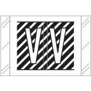 Tabbies 12000 Match CRAM Series Alpha Roll Labels - Letter V - Black and White Label
